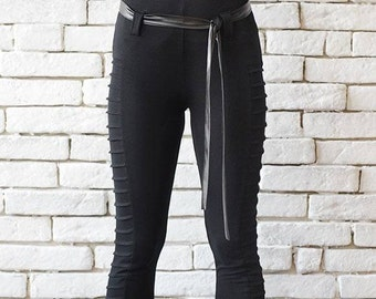 Modern Gothic Black Pants/Long Black Leggings/Casual Black Pants/Tight Pants/Long Slim Pants/Extravagant Woman Pants/Plus Size Available