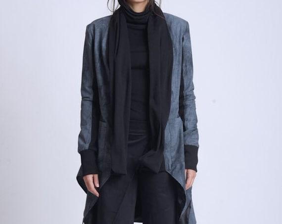 NEW Extravagant Zipper Asymmetric Coat/Avant Garde Pattern Jacket/Long Dress Coat/Pattern Loose Jacket/Long Scarf Collar Jacket/Casual Coat