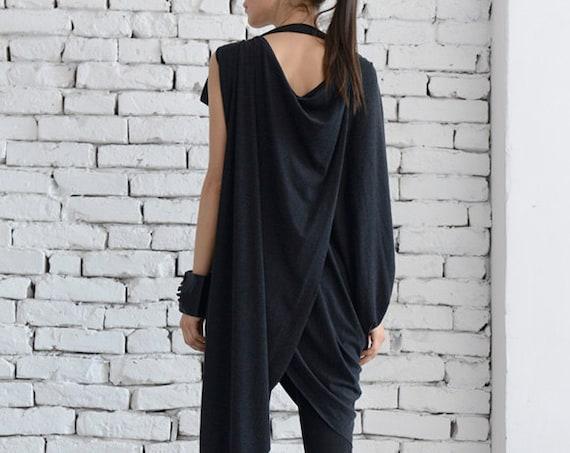Oversize Grey Tunic/Asymmetric Long Top/Extravagant Grey Dress/Loose Tunic Top/Draped Grey Short Dress/Long Short Grey Maxi Top