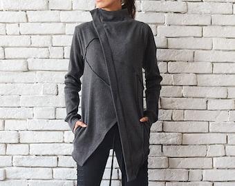 Oversize Grey Jacket/Asymmetric Loose Blazer/Short Grey Coat/Long Sleeve Tunic/Casual Short Coat/Plus Size Top/Zipper Blazer/Grey Top