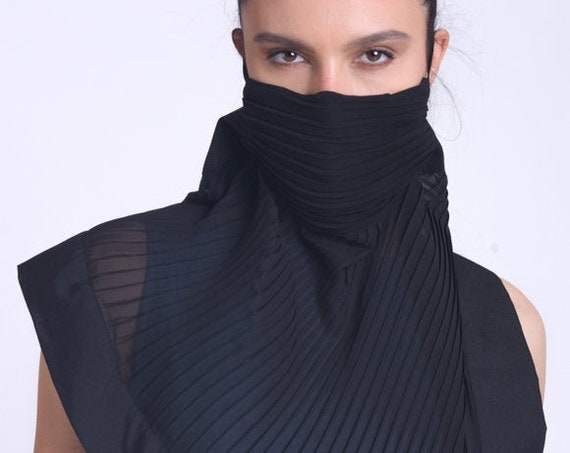 Black Chiffon Face Mask/Oversize Neck Gaiter/Extravagant Bandana Cover/Black Balaclava Mask/OEKO Filter Safety Mask with Elastic Ear Loops