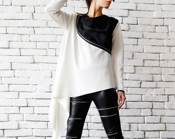 White Loose Top/Extravagant Black And White Tunic/Zipper Jacket/Asymmetric Long Top/Plus Size Blazer/Long Sleeve Tunic/White Neoprene Top