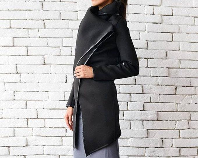 Black Long Jacket / Casual Black Coat / Winter Jacket / Black Asymmetric Tunic by METAMORPHOZA