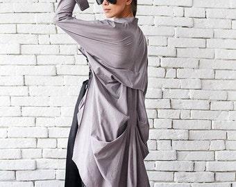 Asymmetric Loose Shirt / Plus Size Tunic / Casual Long Sleeve Top / Overzise Long Short Top / Formal Modern Blouse by METAMORPHOZA