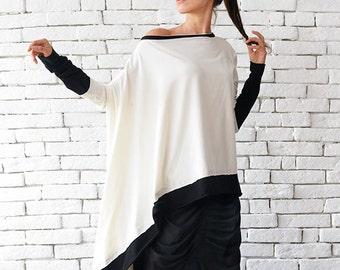 White Asymmetric Top / Loose Long Tunic / Black and White Blouse / Oversize Maxi Dress / Long Sleeve Plus Size Dress by METAMORPHOZA