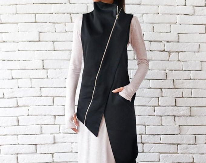 Black Asymmetric Top/Elegant Long Vest/Extravagant Sleeveless Coat/Black Collar Shirt/Little Black Dress Top/Casual Tunic Top/Long Vest