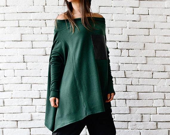 Green Loose Tunic/Asymmetric Long Top/Leather Pocket Shirt/Casual Maxi Tunic/Extravagant Long Sleeve Blouse/Fallen Sleeve Top/Green Long Top