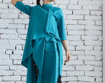 Turquoise Asymmetric Shirt/Loose Green Tunic Top/Extravagant Green Dress/Plus Size Top/Casual Half Sleeve Blouse by METAMORPHOZA