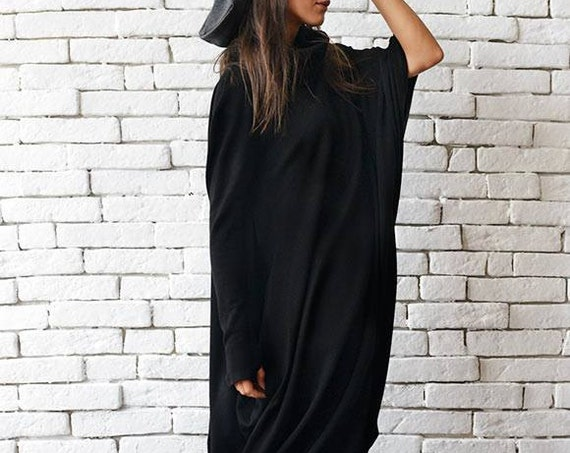 Maxi Black Dress/Black Kaftan Dress/Oversize Loose Tunic/Extravagant Plus Size Dress/Long Black Dress/Long Sleeve Tunic Top by METAMORPHOZA