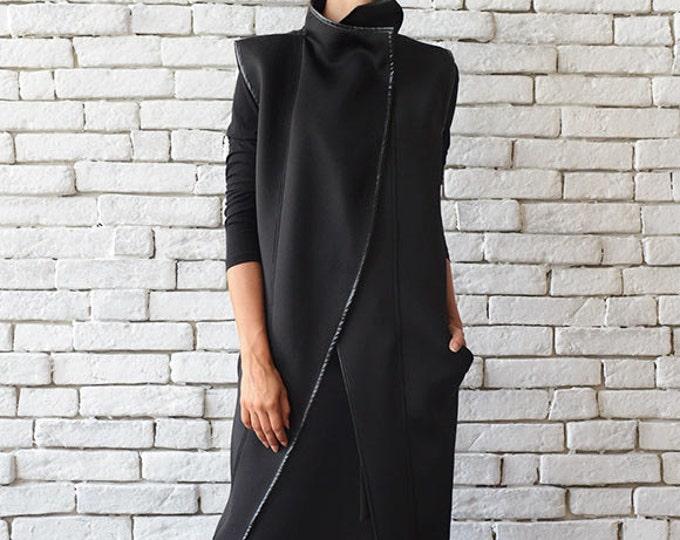 Sleeveless Black Coat/Long Asymmetric Vest/Oversize Neoprene Jacket/Loose Black Tunic Top/Extravagant Casual Cardigan/Black Winter Coat