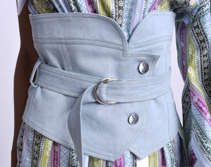LIMITED EDITION Denim Extra Large Waist Belt/Extravagant Wide Denim Belt/Blue Button Belt/Casual Outfit Belt/Jean Maxi Belt/Adjustable Belt