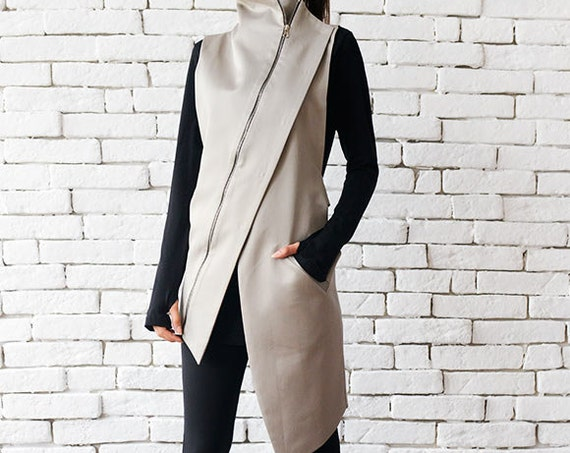 Beige Elegant Zipper Vest/Asymmetric Casual Long Top/Extravagant Dinner Tunic/Sleeveless Beige Coat/Beige Collar Shirt METT0049