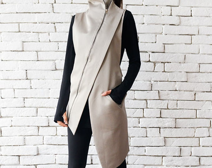 Beige Elegant Zipper Vest/Asymmetric Casual Long Top/Extravagant Dinner Tunic/Sleeveless Beige Coat/Beige Collar Shirt/Office Shirt Top
