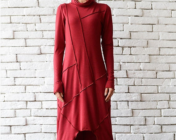 Red Loose Dress/Asymmetric Oversize Tunic/Plus Size Red Dress/Long Sleeve Dress/Red Maxi Dress/Red Dress/Long Casual Dress/Everyday Top