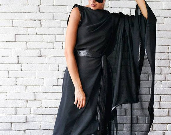 Maxi Black Tunic / Sheer Black Tunic / Asymmetrical Black Top / Maxi Black Top / Black Loose Tunic / Sexy Black Top/ Extravagant Black Shirt