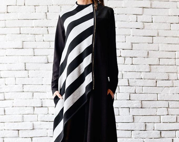 Asymmetric Long Coat/Stripe Black Cardigan/Loose Long Jacket/Oversize Black Coat/Stripe Winter Coat/Extravagant Zipper Tunic/Black Coat