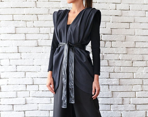 Dark Grey Maxi Top / Casual Vest / Official Top / Elegant Grey Tunic / Asymmetric Formal Top/ Loose Sleeveless Coat - Plus Size Available