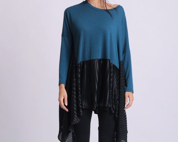 NEW Petrol and Black Tunic/Asymmetric Loose Top/Long Sleeve Tunic Top/Extravagant Maxi Shirt/Plus Size Loose Tunic/Two Color Pleated Top