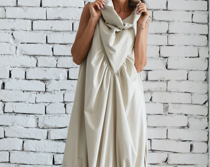 Asymmetric Loose Long Dress/Cream Color Kaftan/Oversize Sleeveless Dress/Evening Formal Gown/Champagne Maxi Dress/Extravagant Prom Dress