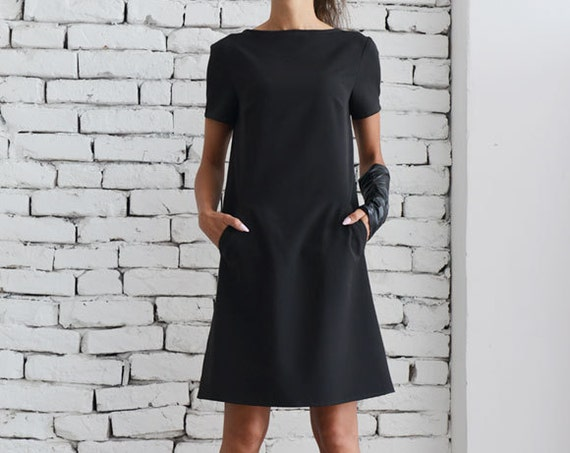 Black Casual Dress/Little Black Dress/Midi Office Dress/Short Sleeve Tunic/Long Black Top/Oversize Black Sleeve Top/School Black Dress