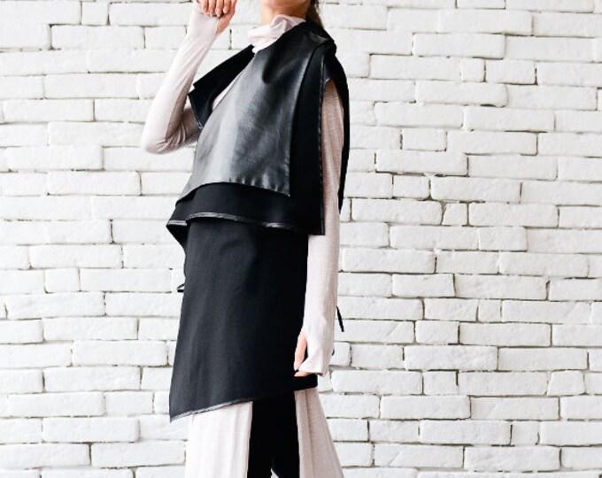 Black Leather Asymmetrical Vest/Sleeveless Black Coat/Loose Warm Top/Leather Tunic/Extravagant Black Vest/Plus Size Coat/Black Tunic Top