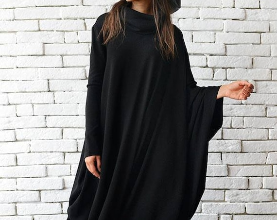 XXL, XXXL Maxi Dress/Black Kaftan/Oversize Black Dress/Loose Asymmetric Tunic/Extravagant Stage Dress/Long Party Dress METD0018