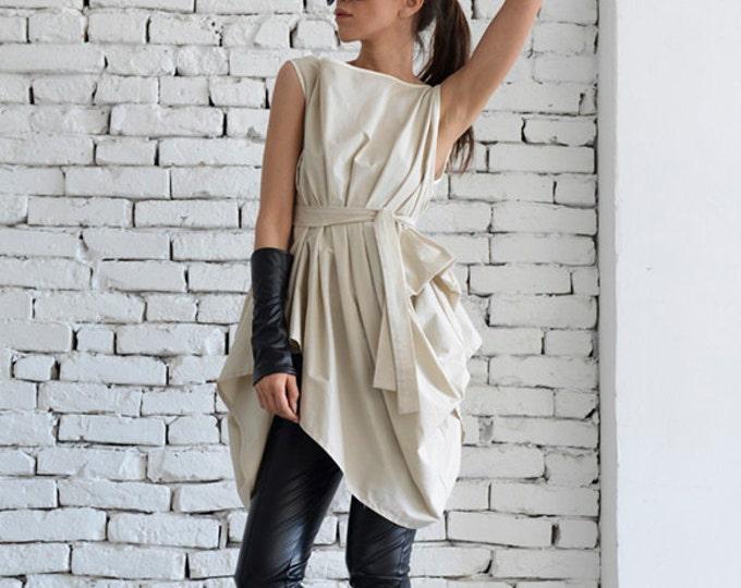 Beige Asymmetric Top/Long Casual Top/Belted Loose Shirt/Maxi Summer Top/Oversize Beige Tunic/Sleeveless Short Dress/Modern Beige Top
