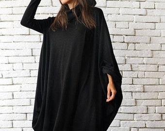 Plus Size Maxi Dress/Oversize Black Dress/Long Loose Kaftan/Plus Size Tunic/Extravagant Casual Dress/Long Sleeve Dress/Black Maxi Dress