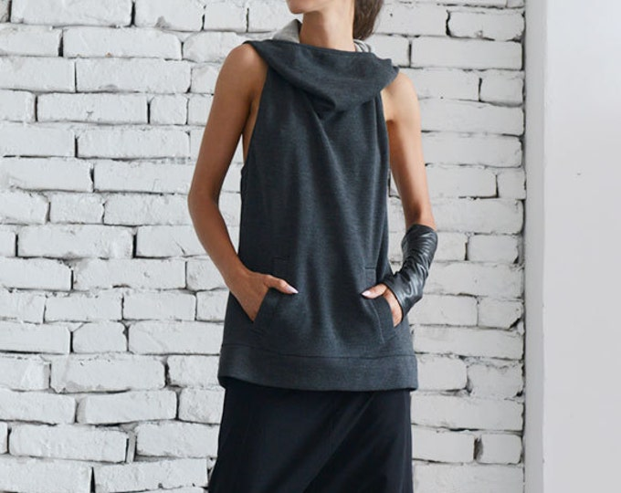 Dark Grey Hooded Top/Extravagant Summer Vest/Casual Tunic with Hood/Grey Loose Top/Sleeveless Hoodie/Large Hood Tunic Top/Sexy Naked Top