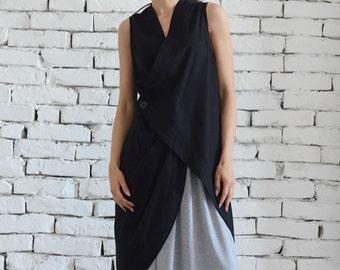Asymmetric Black Top / Linen Black Tunic / Black Linen Top / Black Dress / Linen Top/ Linen Black Tunic / Long Black Vest / Sleeveless Coat