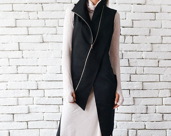 Extravagant Black Vest/Casual Long Top/Sleeveless Elegant Coat/Asymmetric Zipper Top/Black Collar Top/Comfortable Formal Vest/Cut Out Top