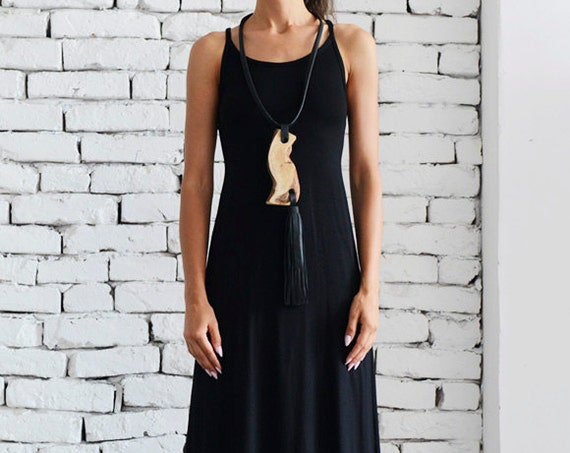 Elegant Long Black Dress/Open Back Dress/Thick Strap Gown/Sexy Black Dress/Sleeveless Loose Kaftan/Oversize Black Tunic Dress METD0054