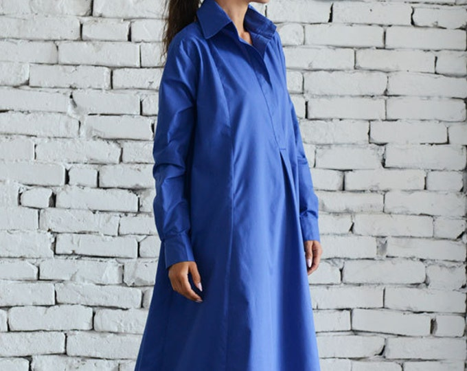 Blue Maxi Dress/Plus Size Kaftan/Extravagant Shirt Dress/Oversize Loose Dress/Blue Kaftan/Long Casual Dress/Plus Size Maxi Dress/Work Dress