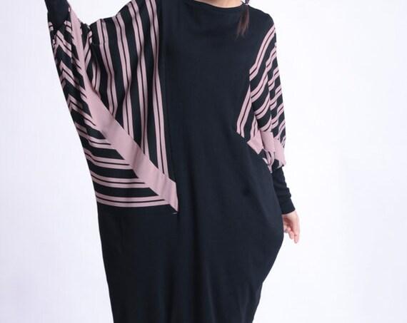 NEW Extravagant Maxi Dress/Plus Size Stripe Dress/Oversize Tunic Dress/Comfortable Casual Dress/Long Sleeve Tunic/Black Kaftan METD0145