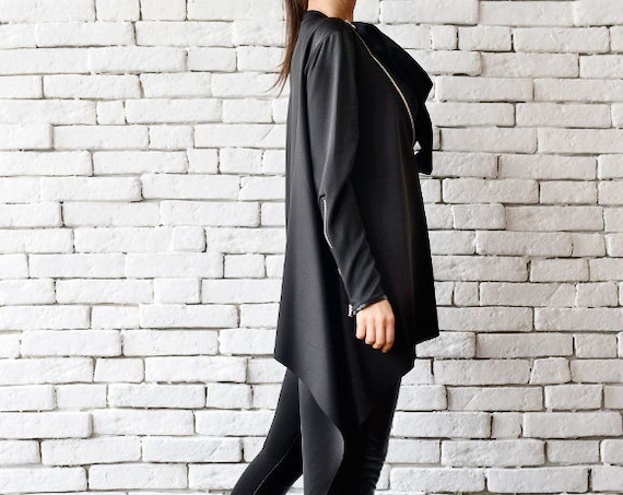 Black Asymmetric Top/Long Sleeve Top/Asymmetric Black Shirt/Oversize Shirt with Zippers/Loose Black Jacket/Long Sleeve Tunic/Black Maxi Top
