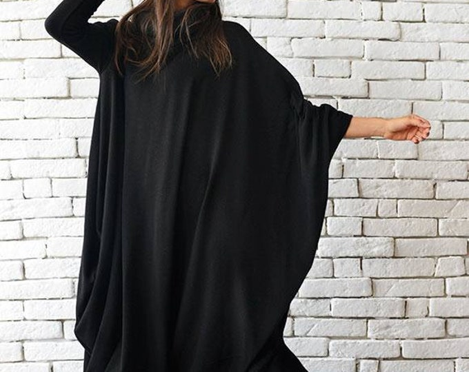 Maxi Black Dress / Black Kaftan Dress / Extravagant Plus Size Dress / Comfortable Everyday Dress / Long Loose Tunic by METAMORPHOZA