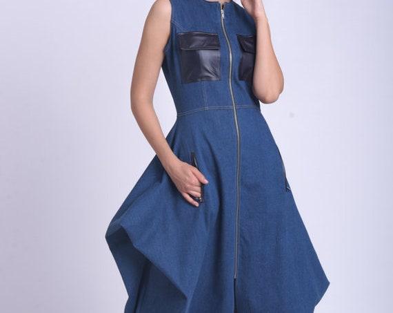 Extravagant Sleeveless Denim Dress/Blue Denim Zipper Dress/Loose Oversize Tunic Dress/Asymmetric Jean Dress/Leather Pockets Dress METD0158