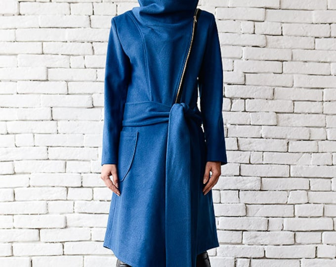 Blue Cashmere Coat/Long Trench Coat/Blue Winter Coat/Elegant Warm Coat/Comfortable Long Jacket/Blue Zipper Jacket/Asymmetric Blue Coat