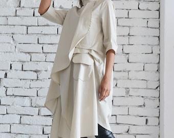 Beige Loose Shirt/Long Tunic Top/Collar Dress/Beige Maxi Dress/Plus Size Tunic/Beige Casual Shirt/ Asymmetric Top/Oversize Tunic Dress