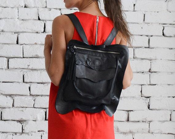 Black Leather Backpack/Extravagant Black Small Handbag/Avantgarde School Bag/Large Pocket Zipper Bag/Extravagant Backpack/School Black Bag