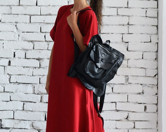 Maxi Red Dress/Loose Oversize Dress/Plus Size Outfit/Everyday Casual Look/Short Sleeve Kaftan/Red Long Dress/Loose Pocket Dress/Oversize Top