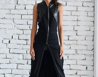 Asymmetric Black Vest / Sleeveless Black Tunic / Long Zipper Top / Leather Vest / Sleeveless Leather Coat / Chain Detail Jacket