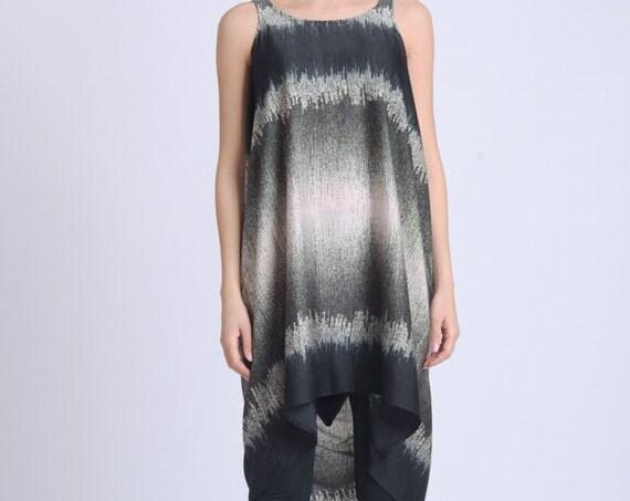 NEW Asymmetric Long Tunic/Sleeveless Long Top/Extravagant Abstract Pattern Top/Round Neckline Tunic Dress/Summer Casual Tunic METT0166