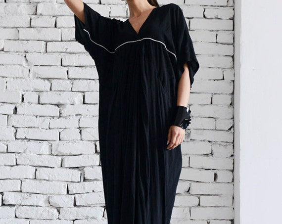 Black Maxi Dress / Extravagant Long Dress / Short Sleeve Black Kaftan / Party Black Dress by MATAMORPHOZA