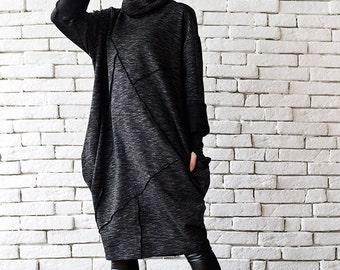 Black Maxi Dress/Oversize Tunic Top/Long Sleeve Top/Polo Dress/Plus Size Dress/Maxi Black Dress/Long Black Tunic/Extravagant Casual Top