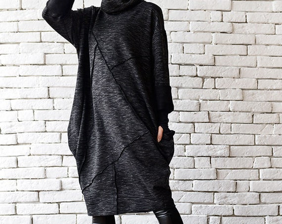 Black Maxi Dress/Oversize Tunic Top/Long Sleeve Top/Black Dress/Plus Size Dress/Maxi Black Dress/Long Black Tunic/Extravagant Casual Top