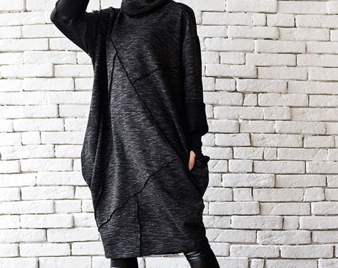 Black Maxi Dress/Oversize Tunic Top/Long Sleeve Top/Polo Dress/Plus Size Dress/Maxi Black Dress/Long Black Tunic/Extravagant Casual Top