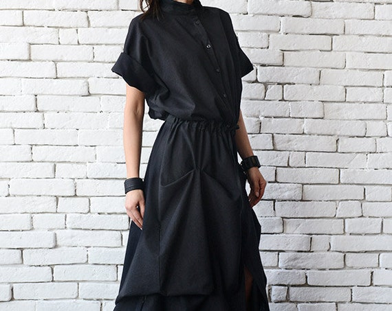 Long Black Linen Dress/Extravagant Short Sleeve Kaftan/Casual Asymmetric Loose Dress with String/Comfortable Shirt Collar Dress/Oversize Top