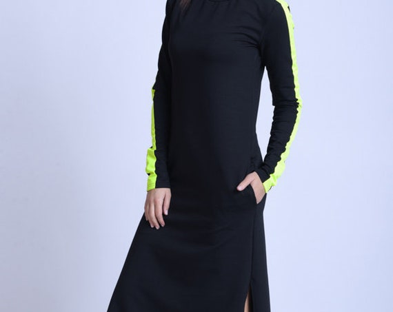 META SPORT Everyday Dress with Neon/Long Sleeve Casual Dress/Black Pocket Dress/Black Casual Dress with Neon/Dress with Side Slits
