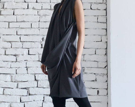 Dark Grey Dress / Asymmetric Dress/  Short Grey Tunic / Long Dark Grey Top / Extravagant grey dress